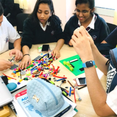 GEMS Winchester School students use Lego blocks to gain insights at the Design Thinking Workshop