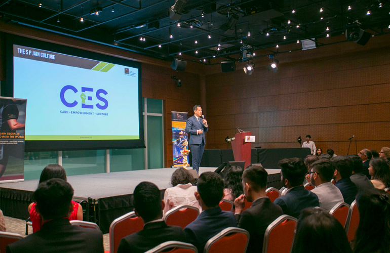 Dr John Fong, CEO & Head of Campus (Singapore), SP Jain, introduces students to SP Jain's new initiative on nurturing culture – CES (Care, Empowerment, Support)