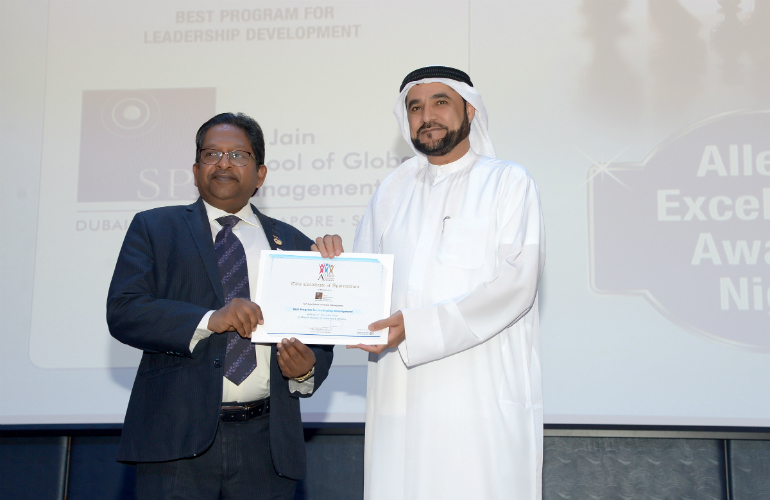 (Left to Right) Prof Christopher Abraham, Head of Campus (Dubai), SP Jain, and Dr Rashid Alleem, Founder & Executive Chairman of Alleem Knowledge Center